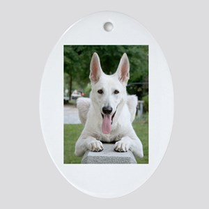 White German Shepard Oval Ornament