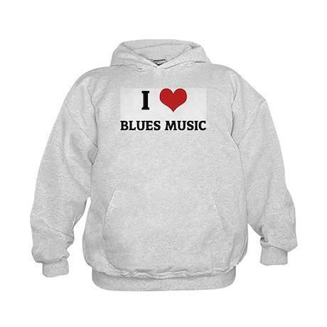 I Love Blues Music Kids Hoodie