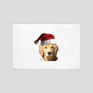 Christmas Golden Retriever Santa Claus 4' x 6' Rug