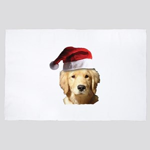 Golden Retriever Christmas Santa Claus 4' x 6' Rug