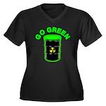Go Green: Women's Plus Size V-Neck Dark T-Shirt