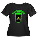 Go Green: Women's Plus Size Scoop Neck Dark T-Shir