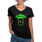 Go Green: Women's V-Neck Dark T-Shirt