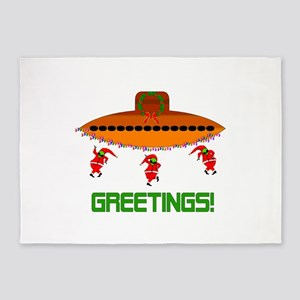 Space Aliens Christmas 5'x7'Area Rug