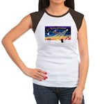 XmasSunrise/2 Poodles Women's Cap Sleeve T-Shirt