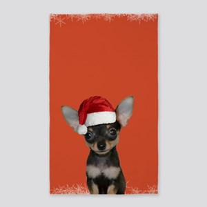 Christmas Chihuahua puppy Area Rug