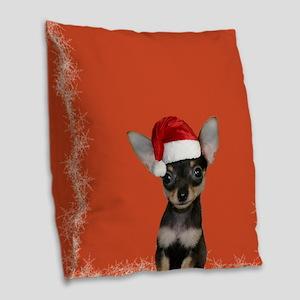 Christmas Chihuahua puppy Burlap Throw Pillow