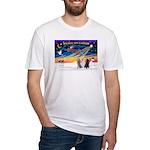 XmasSunrise/3 Std Poodles Fitted T-Shirt
