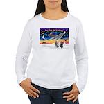 XmasSunrise/3 Std Poodles Women's Long Sleeve T-Sh