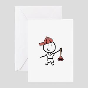 Boy & Plumber Greeting Card