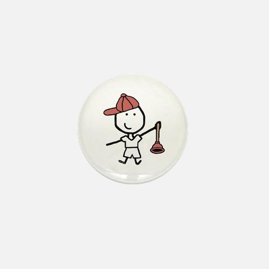 Boy & Plumber Mini Button