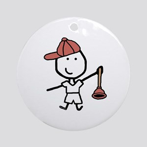 Boy & Plumber Ornament (Round)