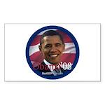"""""""Barack Obama 2008"""" Rect Sticker"""