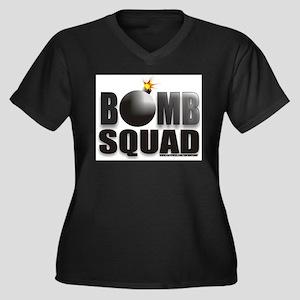 BOMB SQUAD Women's Plus Size V-Neck Dark T-Shirt