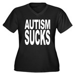 Autism Sucks Women's Plus Size V-Neck Dark T-Shirt