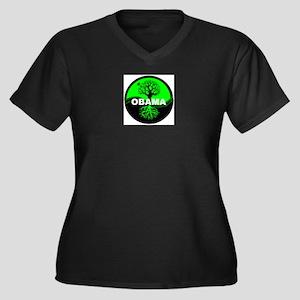 Go Green Obama Women's Plus Size V-Neck Dark T-Shi