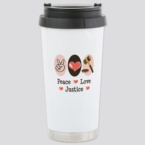 Peace Love Justice Judge Stainless Steel Travel Mu