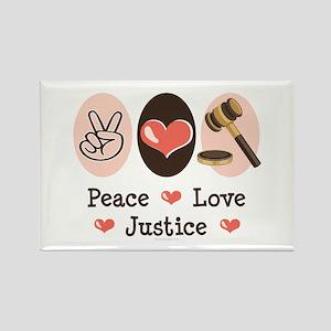 Peace Love Justice Judge Rectangle Magnet