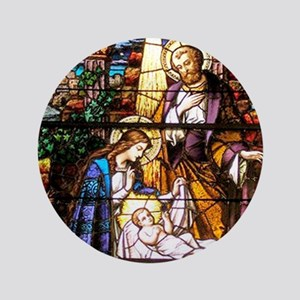 "Nativity Window 3.5"" Button"