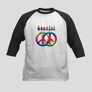 Coexist Peace Sign Kids Baseball Jersey