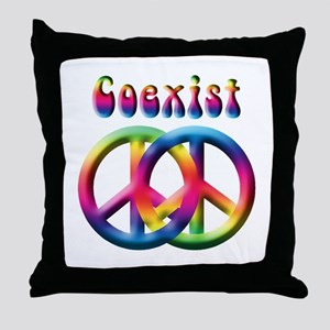 Coexist Peace Sign Throw Pillow