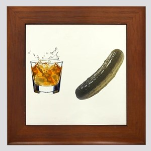 whiskey pickle Framed Tile