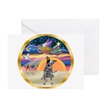 Xms-Angel-Aussie Cattle Greeting Cards (Pk of 10)