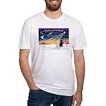 XmasSunrise/2 Std Poodles Fitted T-Shirt