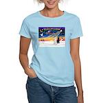 XmasSunrise/2 Std Poodles Women's Light T-Shirt