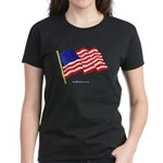 """American Flag"" Women's Black T-Shirt"