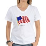 """American Flag"" Women's V-Neck T"