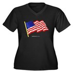 """Flag"" Women's Plus Size V-Neck Dark T"