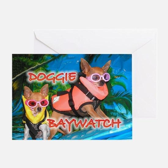 Doggie Baywatch Greeting Card
