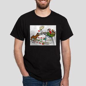 Santa Jumping Horse Jump Dark T-Shirt