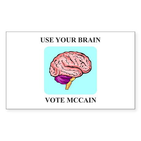 Use Your Brain, Vote McCain Rectangle Sticker