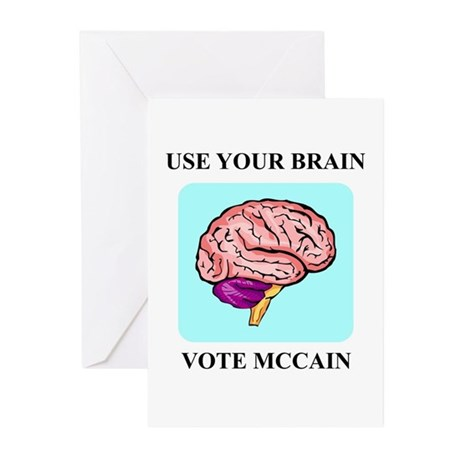 Use Your Brain, Vote McCain Greeting Cards (Pk of