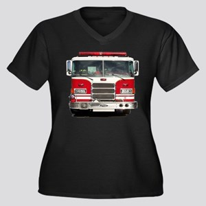 PIERCE FIRE TRUCK Women's Plus Size V-Neck Dark T-