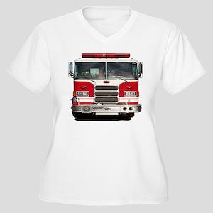 PIERCE FIRE TRUCK Women's Plus Size V-Neck T-Shirt