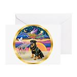 XmasStar/Rottie #3 Greeting Cards (Pk of 10)