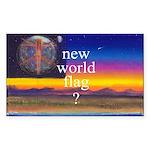 NEW WORLD FLAG ? Rectangle Sticker 50 pk)