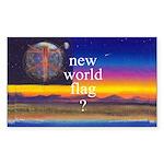 NEW WORLD FLAG ? Rectangle Sticker 10 pk)