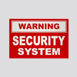 WARNING SECURITY SYSTEM Rectangle Magnet