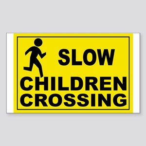 SLOW CHILDREN CROSSING Rectangle Sticker