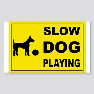 SLOW DOG PLAYING Rectangle Sticker