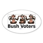 """Monkey Bush Voters"" Oval Sticker (10)"