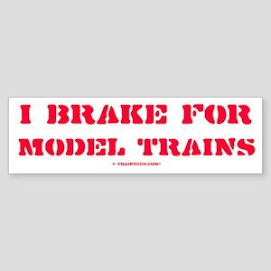 TrainTees.comT I Brake For Model Trains Sticker (B