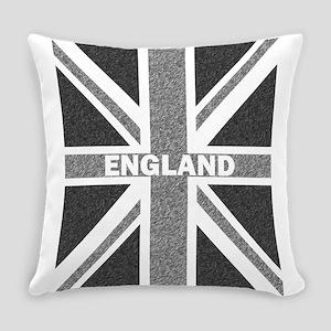 Grayscale Union Jack England Flag Everyday Pillow