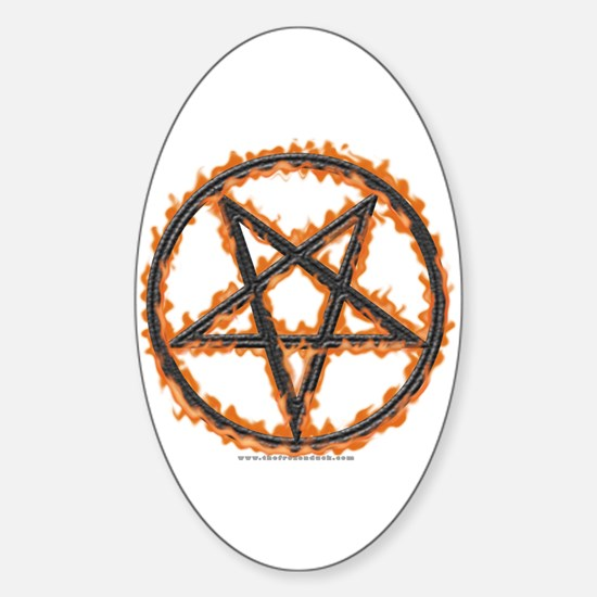 Burning Inverted Pentagram Oval Decal