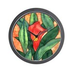 Red Calla Lily Watercolor Wall Clock