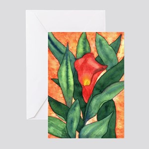 Red Calla Lily Watercolor Greeting Cards (Package
